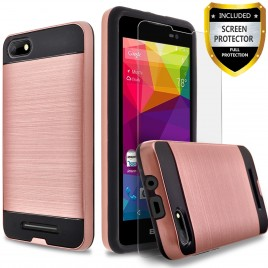 BLU Advance 5.0 HD Case, 2-Piece Style Hybrid Shockproof Hard Case Cover with [Premium Screen Protector] Hybird Shockproof And Circlemalls Stylus Pen (Rose Gold)