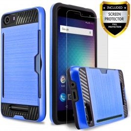 BLU Life XL Case, 2-Piece Style Hybrid Shockproof Hard Case Cover with [Premium Screen Protector] Hybird Shockproof And Circlemalls Stylus Pen (Blue)