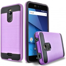 BLU R2 Case, 2-Piece Style Hybrid Shockproof Hard Case Cover Hybird Shockproof And Circlemalls Stylus Pen (Purple)