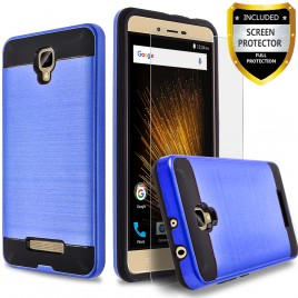 BLU Studio C HD Case, 2-Piece Style Hybrid Shockproof Hard Case Cover with [Premium Screen Protector] Hybird Shockproof And Circlemalls Stylus Pen (Blue)