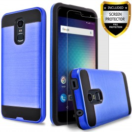 BLU Life Max Case, 2-Piece Style Hybrid Shockproof Hard Case Cover with [Premium Screen Protector] Hybird Shockproof And Circlemalls Stylus Pen (Blue)