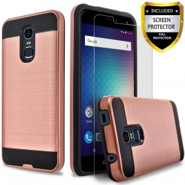BLU Life Max Case, 2-Piece Style Hybrid Shockproof Hard Case Cover with [Premium Screen Protector] Hybird Shockproof And Circlemalls Stylus Pen (Rose Gold)
