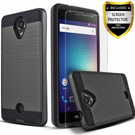 BLU Studio Selfie 2 Case, 2-Piece Style Hybrid Shockproof Hard Case Cover with [Premium Screen Protector] Hybird Shockproof And Circlemalls Stylus Pen (Black)