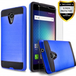 BLU Studio Selfie 2 Case, 2-Piece Style Hybrid Shockproof Hard Case Cover with [Premium Screen Protector] Hybird Shockproof And Circlemalls Stylus Pen (Blue)
