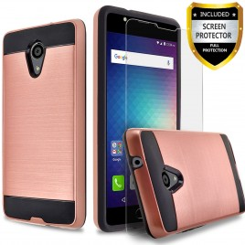 BLU Studio Selfie 2 Case, 2-Piece Style Hybrid Shockproof Hard Case Cover with [Premium Screen Protector] Hybird Shockproof And Circlemalls Stylus Pen (Rose Gold)
