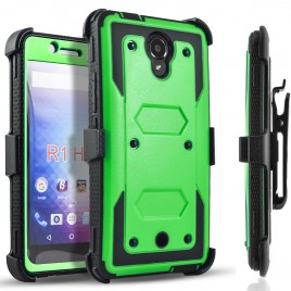 BLU R1 HD Case, [SUPER GUARD] Dual Layer Protection With [Built-in Screen Protector] Holster Locking Belt Clip+Circle(TM) Stylus Touch Screen Pen (Green)