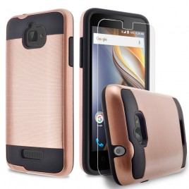 Coolpad Catalyst Case, 2-Piece Style Hybrid Shockproof Hard Case Cover with [Premium Screen Protector] Hybird Shockproof And Circlemalls Stylus Pen (Rose Gold)