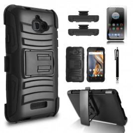 Coolpad Catalyst Case, Dual Layers [Combo Holster] Case And Built-In Kickstand Bundled with [Premium Screen Protector] Hybird Shockproof And Circlemalls Stylus Pen (Black)