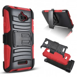 Coolpad Catalyst Case, Dual Layers [Combo Holster] Case And Built-In Kickstand Bundled with [Premium Screen Protector] Hybird Shockproof And Circlemalls Stylus Pen (Red)