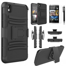 HTC Desire 816 Case, Dual Layers [Combo Holster] Case And Built-In Kickstand Bundled with [Premium Screen Protector] Hybird Shockproof And Circlemalls Stylus Pen (Black)