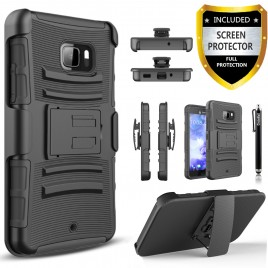 HTC U Play Case, Dual Layers [Combo Holster] Case And Built-In Kickstand Bundled with [Premium Screen Protector] Hybird Shockproof And Circlemalls Stylus Pen (Black)