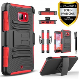 HTC U Play Case, Dual Layers [Combo Holster] Case And Built-In Kickstand Bundled with [Premium Screen Protector] Hybird Shockproof And Circlemalls Stylus Pen (Red)