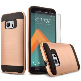 HTC 10 Case, 2-Piece Style Hybrid Shockproof Hard Case Cover with [Premium Screen Protector] Hybird Shockproof And Circlemalls Stylus Pen (Rose Gold)