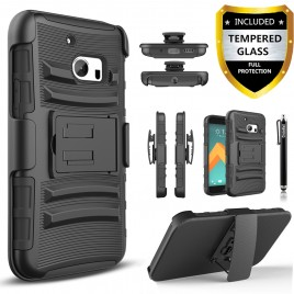 HTC 10 Case, Dual Layers [Combo Holster] Case And Built-In Kickstand Bundled with [Premium Screen Protector] Hybird Shockproof And Circlemalls Stylus Pen (Black)