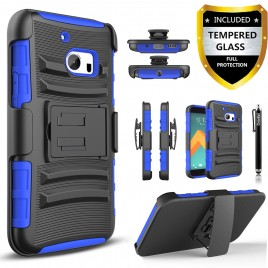 HTC 10 Case, Dual Layers [Combo Holster] Case And Built-In Kickstand Bundled with [Premium Screen Protector] Hybird Shockproof And Circlemalls Stylus Pen (Blue)