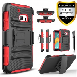 HTC 10 Case, Dual Layers [Combo Holster] Case And Built-In Kickstand Bundled with [Premium Screen Protector] Hybird Shockproof And Circlemalls Stylus Pen (Red)