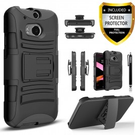 HTC One M8 Case, Dual Layers [Combo Holster] Case And Built-In Kickstand Bundled with [Premium Screen Protector] Hybird Shockproof And Circlemalls Stylus Pen (Black)