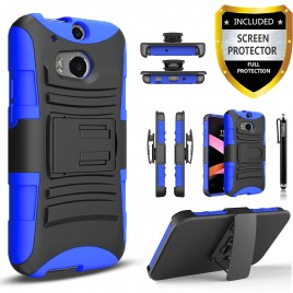 HTC One M8 Case, Dual Layers [Combo Holster] Case And Built-In Kickstand Bundled with [Premium Screen Protector] Hybird Shockproof And Circlemalls Stylus Pen (Blue)