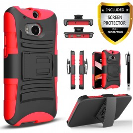 HTC One M8 Case, Dual Layers [Combo Holster] Case And Built-In Kickstand Bundled with [Premium Screen Protector] Hybird Shockproof And Circlemalls Stylus Pen (Red)