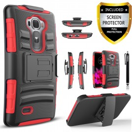 LG G Flex 2 Case, Dual Layers [Combo Holster] Case And Built-In Kickstand Bundled with [Premium Screen Protector] Hybird Shockproof And Circlemalls Stylus Pen (Red)