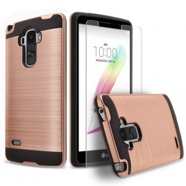 LG G Stylo, LG Stylus Case, 2-Piece Style Hybrid Shockproof Hard Case Cover with [Premium Screen Protector] Hybird Shockproof And Circlemalls Stylus Pen (Rose Gold)
