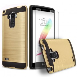 LG G Stylo, LG Stylus Case, 2-Piece Style Hybrid Shockproof Hard Case Cover with [Premium Screen Protector] Hybird Shockproof And Circlemalls Stylus Pen (Gold)