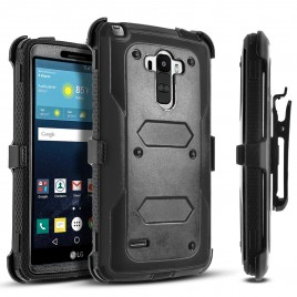 LG G Stylo, LG Stylus Case, [SUPER GUARD] Dual Layer Protection With [Built-in Screen Protector] Holster Locking Belt Clip+Circle(TM) Stylus Touch Screen Pen (Black)