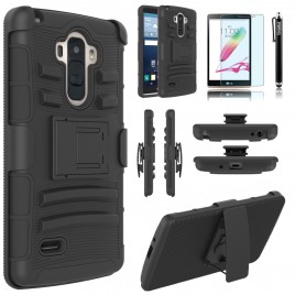 LG G Vista Case, Dual Layers [Combo Holster] Case And Built-In Kickstand Bundled with [Premium Screen Protector] Hybird Shockproof And Circlemalls Stylus Pen (Black)
