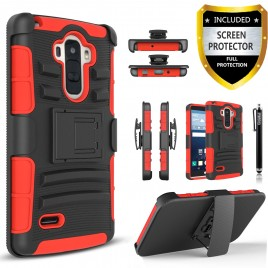 LG G Stylo, LG Stylus Case, Dual Layers [Combo Holster] Case And Built-In Kickstand Bundled with [Premium Screen Protector] Hybird Shockproof And Circlemalls Stylus Pen (Red)