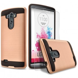 LG G3 Case, 2-Piece Style Hybrid Shockproof Hard Case Cover with [Premium Screen Protector] Hybird Shockproof And Circlemalls Stylus Pen (Rose Gold)