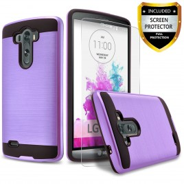 LG G3 Case, 2-Piece Style Hybrid Shockproof Hard Case Cover with [Premium Screen Protector] Hybird Shockproof And Circlemalls Stylus Pen (Purple)