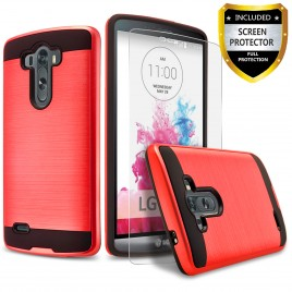 LG G3 Case, 2-Piece Style Hybrid Shockproof Hard Case Cover with [Premium Screen Protector] Hybird Shockproof And Circlemalls Stylus Pen (Red)