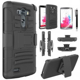 LG G3 Case, Dual Layers [Combo Holster] Case And Built-In Kickstand Bundled with [Premium Screen Protector] Hybird Shockproof And Circlemalls Stylus Pen (Black)