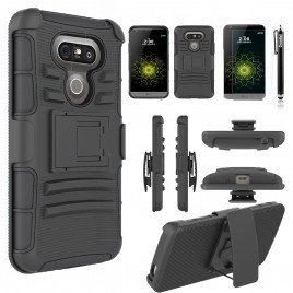 LG G5 Case, Dual Layers [Combo Holster] Case And Built-In Kickstand Bundled with [Premium Screen Protector] Hybird Shockproof And Circlemalls Stylus Pen (Black)