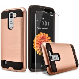 LG K7, LG Phoenix 2, LG Treasure, LG Tribute 5 Case, 2-Piece Style Hybrid Shockproof Hard Case Cover with [Premium Screen Protector] Hybird Shockproof And Circlemalls Stylus Pen (Rose Gold)