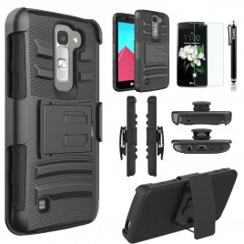 LG K7, LG Phoenix 2, LG Treasure, LG Tribute 5 Case, Dual Layers [Combo Holster] Case And Built-In Kickstand Bundled with [Premium Screen Protector] Hybird Shockproof And Circlemalls Stylus Pen (Black)
