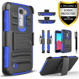 LG K7, LG Phoenix 2, LG Treasure, LG Tribute 5 Case, Dual Layers [Combo Holster] Case And Built-In Kickstand Bundled with [Premium Screen Protector] Hybird Shockproof And Circlemalls Stylus Pen (Blue)