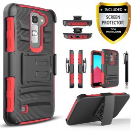 LG K7, LG Phoenix 2, LG Treasure, LG Tribute 5 Case, Dual Layers [Combo Holster] Case And Built-In Kickstand Bundled with [Premium Screen Protector] Hybird Shockproof And Circlemalls Stylus Pen (Red)