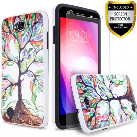 LG X Power 2 Case, 2-Piece Style Hybrid Shockproof Hard Case Cover with [Premium Screen Protector] Hybird Shockproof And Circlemalls Stylus Pen (Lucky Tree)