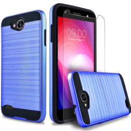 LG X Power 2 Case, 2-Piece Style Hybrid Shockproof Hard Case Cover with [Premium Screen Protector] Hybird Shockproof And Circlemalls Stylus Pen (Blue)