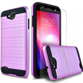 LG X Power 2 Case, 2-Piece Style Hybrid Shockproof Hard Case Cover with [Premium Screen Protector] Hybird Shockproof And Circlemalls Stylus Pen (Purple)