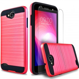 LG X Power 2 Case, 2-Piece Style Hybrid Shockproof Hard Case Cover with [Premium Screen Protector] Hybird Shockproof And Circlemalls Stylus Pen (Red)
