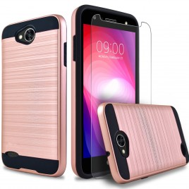 LG X Power 2 Case, 2-Piece Style Hybrid Shockproof Hard Case Cover with [Premium Screen Protector] Hybird Shockproof And Circlemalls Stylus Pen (Rose Gold)