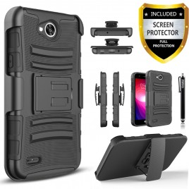 LG X Power 2 Case, Dual Layers [Combo Holster] Case And Built-In Kickstand Bundled with [Premium Screen Protector] Hybird Shockproof And Circlemalls Stylus Pen (Black)