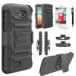 LG Optimus, LG Ultimate 2 Case, Dual Layers [Combo Holster] Case And Built-In Kickstand Bundled with [Premium Screen Protector] Hybird Shockproof And Circlemalls Stylus Pen (Black)