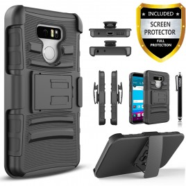 LG G6 Case, Dual Layers [Combo Holster] Case And Built-In Kickstand Bundled with [Premium Screen Protector] Hybird Shockproof And Circlemalls Stylus Pen (Black)