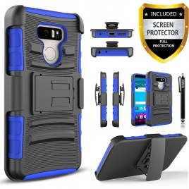 LG G6 Case, Dual Layers [Combo Holster] Case And Built-In Kickstand Bundled with [Premium Screen Protector] Hybird Shockproof And Circlemalls Stylus Pen (Blue)