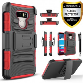LG G6 Case, Dual Layers [Combo Holster] Case And Built-In Kickstand Bundled with [Premium Screen Protector] Hybird Shockproof And Circlemalls Stylus Pen (Red)