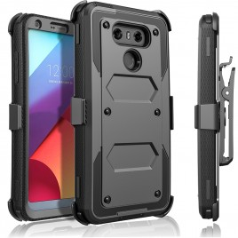 LG G6 Case, [SUPER GUARD] Dual Layer Protection With [Built-in Screen Protector] Holster Locking Belt Clip+Circle(TM) Stylus Touch Screen Pen (Black)
