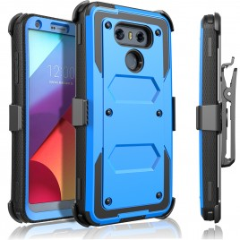 LG G6 Case, [SUPER GUARD] Dual Layer Protection With [Built-in Screen Protector] Holster Locking Belt Clip+Circle(TM) Stylus Touch Screen Pen (Blue)